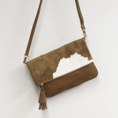Oversized Clutch In Tan Cowhide