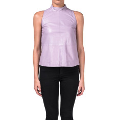 Bryce hi-neck sleeveless lambskin leather top in lavender
