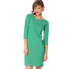 Green stripe cotton jersey dress