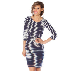 Navy stripe cotton jersey dress