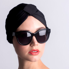 Amelie turban-style shower cap in black