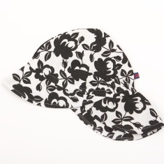 Kids' sun hat in black & white flower print