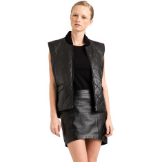 Women's black leather quilted lambskin Wyatt vest gilet
