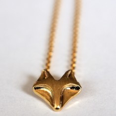 Tiny fox pendant necklace in gold