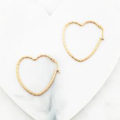 Shape of my heart hoop earrings in rose gold