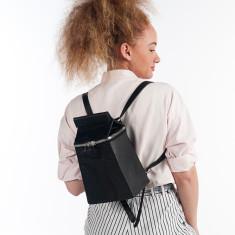 Leather Milkman Bag/Backpack - Black