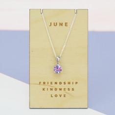 June birthstone sterling silver necklace