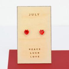 July birthstone sterling silver heart stud earrings