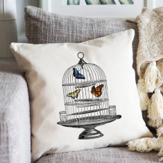 Birdcage with Butterflies cushion cover