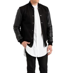 Black V2 leather wool varsity jacket