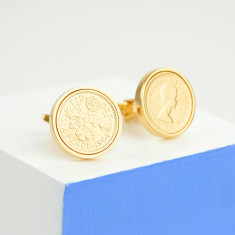Gold lucky sixpence date coin cufflinks