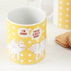 Horny dinosaurs spotty mug