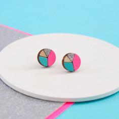 Circle geometric earrings in neon pink, aqua and silver glitter
