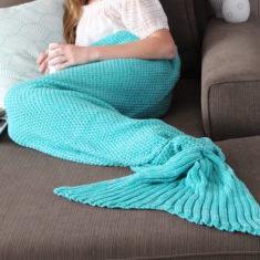 Adult Mermaid Tail Blanket in Seafoam Green