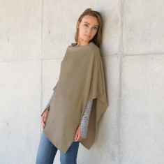 Merino wool poncho in khaki