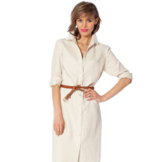 Lined Italian linen shirt dress in classic bone