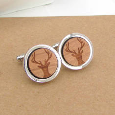 Wooden stag head cufflinks