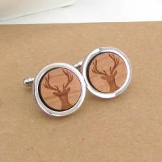 Wooden stag head cufflinks