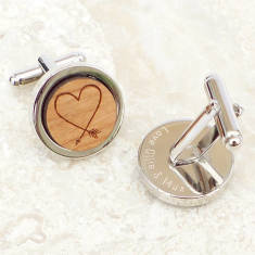 Personalised Wooden Heart Arrow Cufflinks