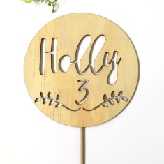Personalised Name and Age Circle wood cake topper