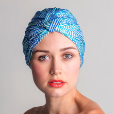 Amelie turban-style shower cap in aqua stripe