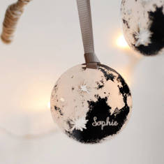 Personalised moon mirror christmas bauble