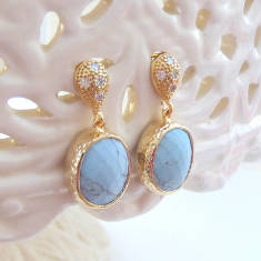 Oval Faceted Glass Gold Earrings