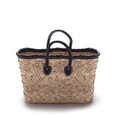 Small black rectangle basket bag in rustic weave