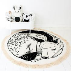 Sleepy Fawn Hand Printed Organic Play Mat Nursery Rug