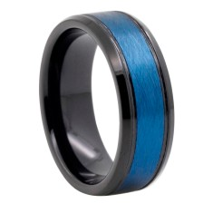 Custom Personalised Brushed Blue and Black Tungsten Ring