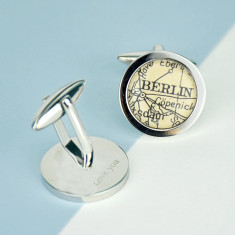Map personalised circle cufflinks
