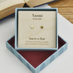 Personalised Your'e a Star Gold Stud Earrings