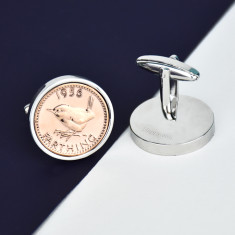 Farthing 60th birthday coin cufflinks