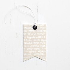 Countries typographic gift tags (set of 6)