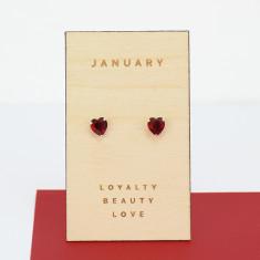 January birthstone sterling silver heart stud earrings