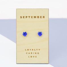 September birthstone sterling silver heart stud earrings