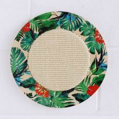 Wall hanging cat scratcher with tropical print