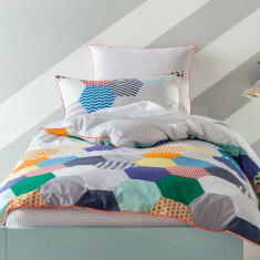 Patches quilt cover set in blue