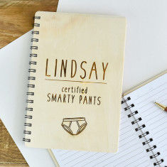 Smarty Pants Personalised Wooden Notebook