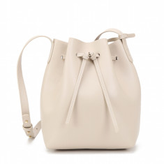 Leather bucket bag in cream