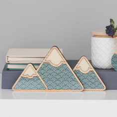 Mountain Art (set of 3) - Teal wave