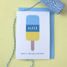 Personalised Ice Lolly Child's Birthday Card
