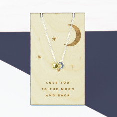 To The Moon And Back Mixed Metal Necklace Pendant