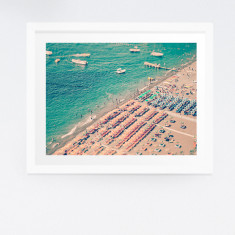 Framed aerial Positano beach photography print