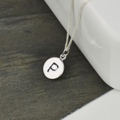Monogram Personalised Stamped Silver Mini Disc Necklace