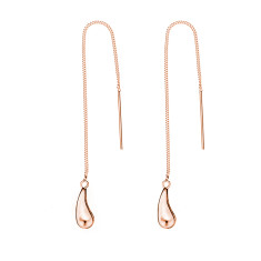 Rose gold tear drop thread earring