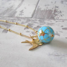 Small world gemstone globe necklace