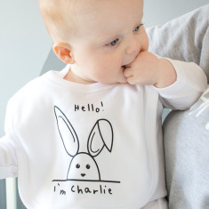 New Baby Personalised Rabbit Baby Bib