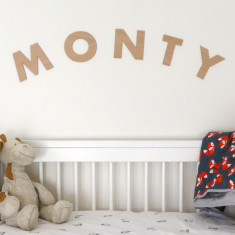 Wooden Name Decal, Baby Name Art for wall