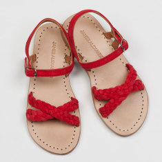 Girls' Santorini sandal in watermelon suede